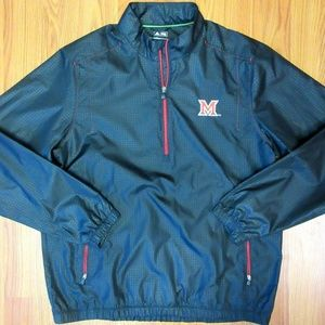 NEW! MIAMI REDHAWKS ADIDAS CLIMAPROOF Mens 1/2 ZIP
